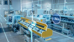 Futuristic Concept: Blurry Factory Digitalization with Information Showing Efficiency Percentage of High-Tech Modern Electronics Facility.