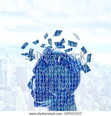 Futuristic concept of a digital mind