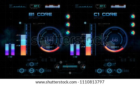 Futuristic control board with spacecraft engine information, traveling in space. 3D illustration