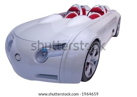 Futuristic convertible on white background