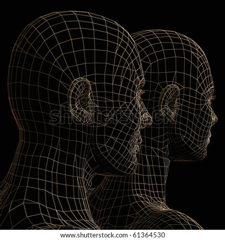 Futuristic couple wire frame silhouette. 3d illustration on black background.