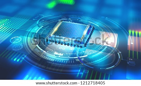Futuristic CPU. Quantum processor in the global computer network. 3d illustration of digital cyberspace with HUD element