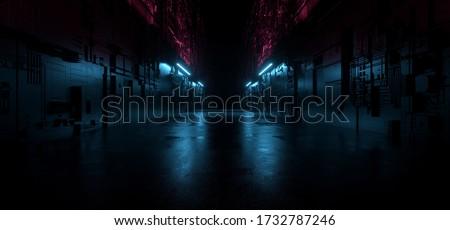 Futuristic Cyber Sci Fi Schematic Metal Reflective Neon Glowing Purple Blue Texture Electric Tunnel Corridor Spaceship Warehouse Concrete Realistic Background 3D Rendering Illustration Stock photo ©