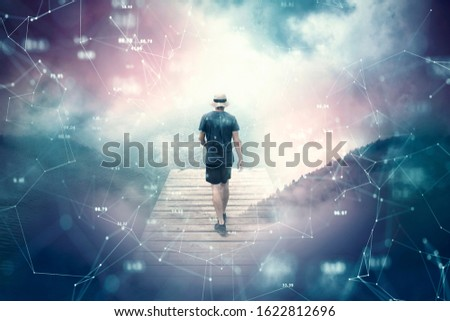 Futuristic cyberspace walking in bright abstract sky. Businessman in digital world.
