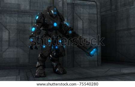 futuristic cyborg soldier