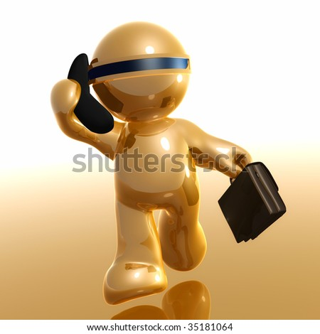 Futuristic 3d chrome gold icon on business phone