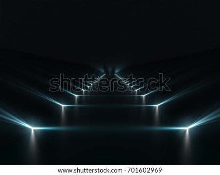Futuristic dark podium with light and reflection background. 3D rendering.