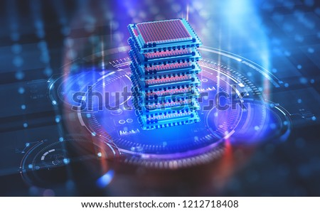 Futuristic Data center. Big Data analytics platform. Quantum processor in the global computer network. 3d illustration of digital cyberspace with HUD element