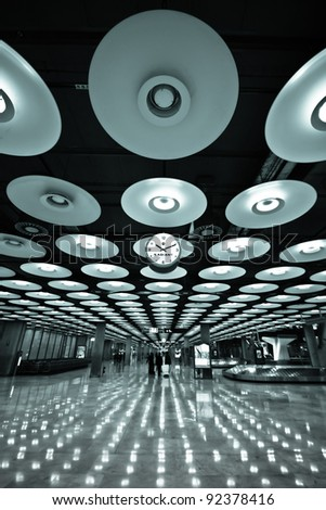 Futuristic design of the arrival hall of the Barajas airport - Madrid, Spain