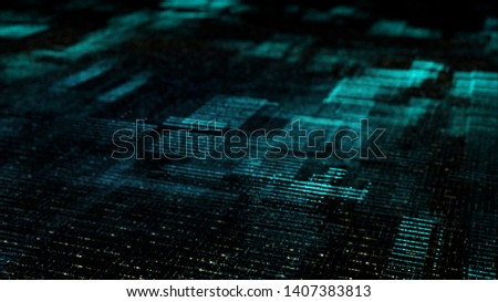 Futuristic digital matrix grid particles de-focus cyber space background environment