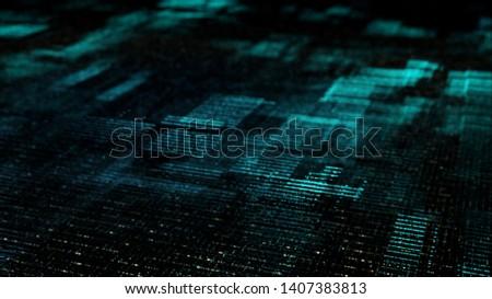 Futuristic digital matrix grid particles de-focus cyber space background environment