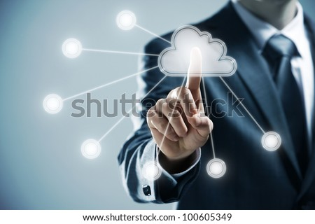 futuristic display: Cloud computing   touchscreen interface - stock photo