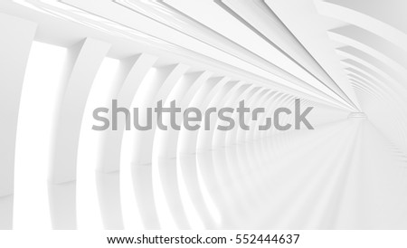 Futuristic empty white corridor with square columns and pipes on the ceiling. 3D Rendering.