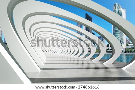 Futuristic exterior structure under arcs and river city architecture background