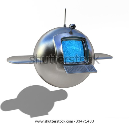 Futuristic flying media station, with easy to remove shadow