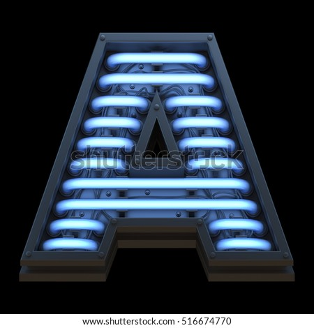 Futuristic font with blue neon back light. 3d rendering.