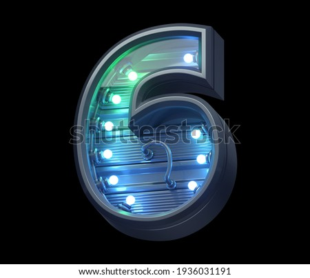 Futuristic font with menthe and blue  light. Number 6. 3d rendering. Photo stock ©