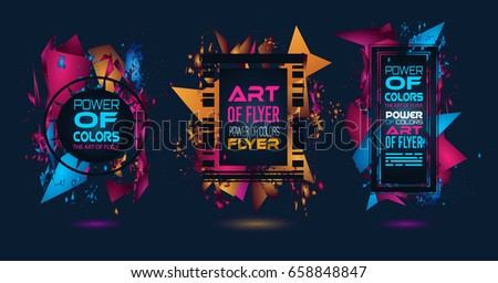 Futuristic Frame Art Design with Abstract shapes and drops of colors behind the space for text. Modern Artistic flyer or party thai background. #658848847
