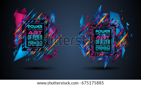 Futuristic Frame Art Design with Abstract shapes and drops of colors behind the space for text. Modern Artistic flyer or party thai background.