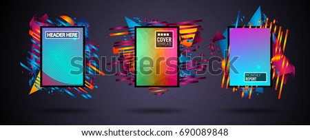 Futuristic Frame Art Design with Abstract shapes and drops of colors behind the space for text. Modern Artistic flyer or party thai background. #690089848