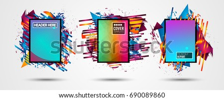 Futuristic Frame Art Design with Abstract shapes and drops of colors behind the space for text. Modern Artistic flyer or party thai background. #690089860