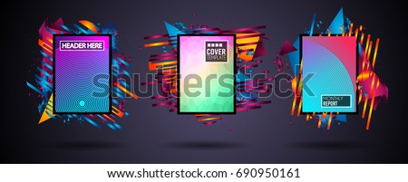 Futuristic Frame Art Design with Abstract shapes and drops of colors behind the space for text. Modern Artistic flyer or party thai background. #690950161