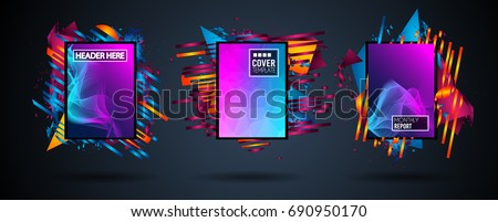 Futuristic Frame Art Design with Abstract shapes and drops of colors behind the space for text. Modern Artistic flyer or party thai background. #690950170