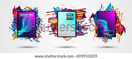 Futuristic Frame Art Design with Abstract shapes and drops of colors behind the space for text. Modern Artistic flyer or party thai background. #690950209