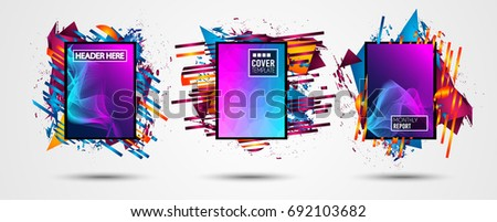 Futuristic Frame Art Design with Abstract shapes and drops of colors behind the space for text. Modern Artistic flyer or party thai background. #692103682