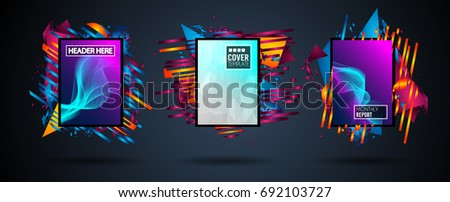 Futuristic Frame Art Design with Abstract shapes and drops of colors behind the space for text. Modern Artistic flyer or party thai background. #692103727