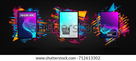 Futuristic Frame Art Design with Abstract shapes and drops of colors behind the space for text. Modern Artistic flyer or party thai background. #712613302