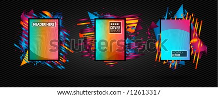 Futuristic Frame Art Design with Abstract shapes and drops of colors behind the space for text. Modern Artistic flyer or party thai background. #712613317