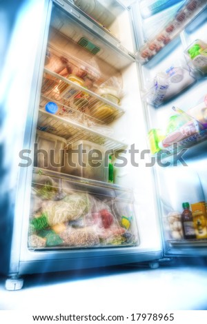 Futuristic fridge. Draw styled photo (HDR).