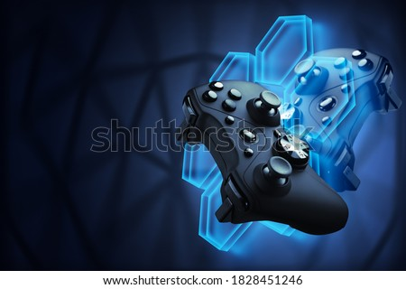 Futuristic games. Video games concept. The gamepad controls the flying robot of their video game.