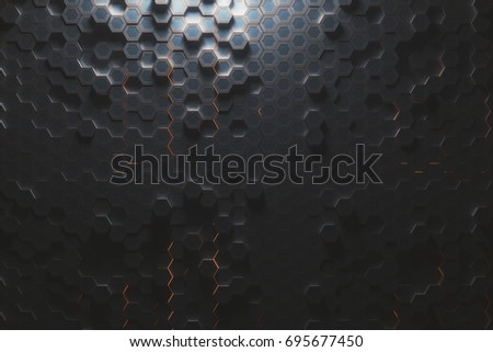 Futuristic glowing amber hexagonal or honeycomb background. Technology, future and innovation concept. 3D Rendering  #695677450