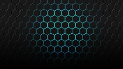 Futuristic glowing hexagonal background design with blue light. Perfect for template, background, thumbnail, etc
