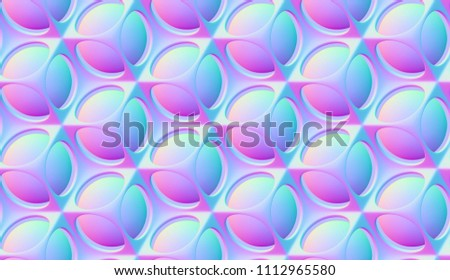 Futuristic grid pattern of round gradient convex tiles in vibrant bold gradient holographic neon colors. High quality seamless texture.