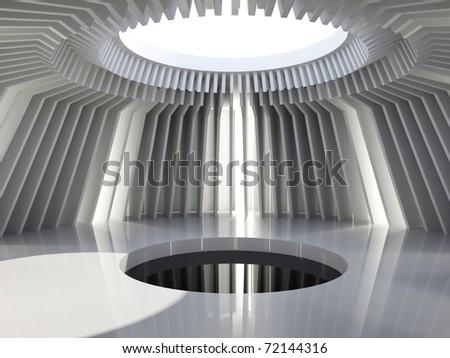 Futuristic hall.  architecture background