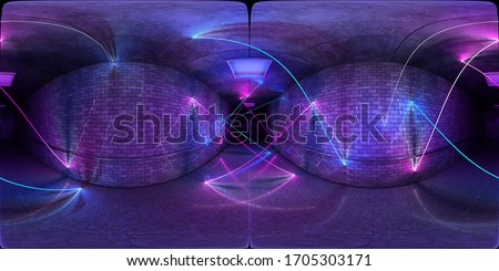 Futuristic HDRI underground interior with glowing blue and pink neon light tubes reflecting on walls and floor. 360 panorama reflection mapping of a long coloured tunnel 3D rendering