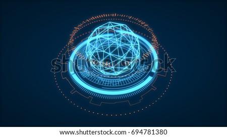 Futuristic HUD Interface Element, UI. Depth Of Field. Data Science Look, 3D Rendering.