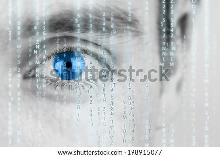 Futuristic image with human eye with blue iris and matrix texture.