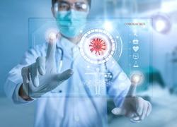 Futuristic innovative corona covid-19 virus doctor wear mask virtual digital ai infographic data tech. Coronavirus 2019-nCov treatment analysis screen in hospital laboratory against epidemic virus