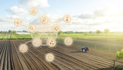 Futuristic innovative technology pictogram and a farmer on a tractor. Development of technology improvements. Agricultural startups agribusiness, digitalization agriculture industry. Farming.