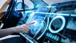 Futuristic instrument panel of vehicle.
