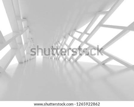 Futuristic interior corridor, space ship