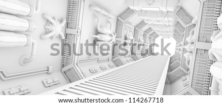 futuristic Interior of a spaceship clean white