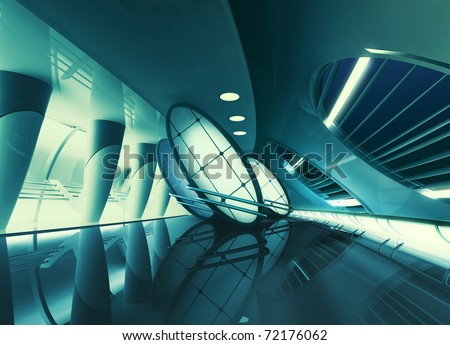 futuristic interior with glowing lights
