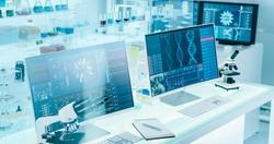Futuristic laboratory equipment - coronavirus testing. Computer screens in laboratory. DNA models and coronavirus research