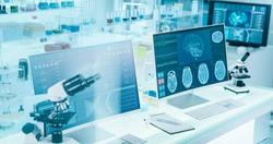 Futuristic laboratory interior. Studying brainwave scanning on screens