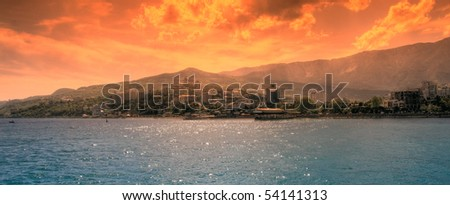 futuristic landscape City Yalta on the coast - stock photo